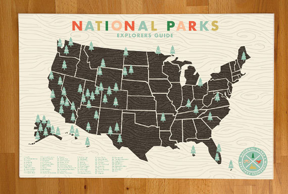 National Parks Checklist Map Print, Find the Perfect Gift for Everyone @WeShopGab